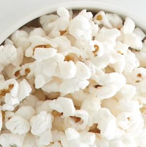 White popcorn in a white bowl