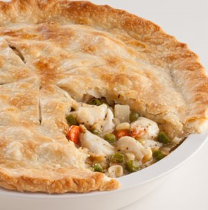 Dish of baked crab pot pie