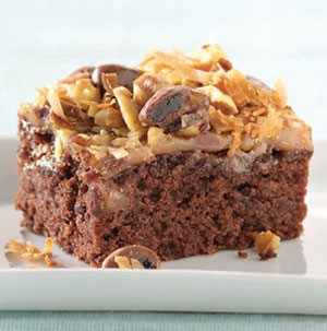 Brownies topped with toasted coconut, chocolate, and caramel