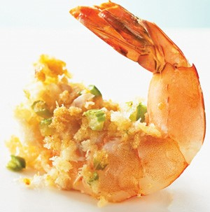 A single shrimp filled with crabmeat stuffing