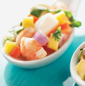 A dish of ceviche with scallops and shrimp