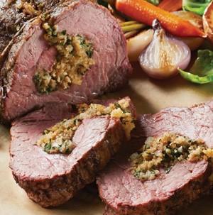 Tenderloin roast stuffed with breadcrumbs