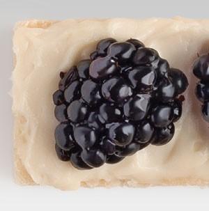 Fruit pizza bite garnished with fresh blackberry