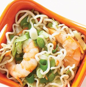 Bowl of Chinese shrimp and cabbage noodles