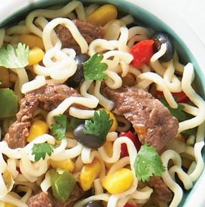 Bowl of beef fajita mix combined with ramen noodles