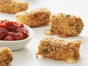 Breaded cheese poppers served with side of marinara sauce