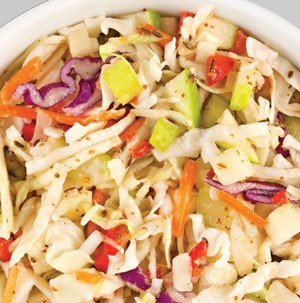 Cup of coleslaw blend with apples, red pepper, celery and onion