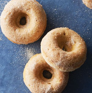 Baked banana donuts sprinkled with sugar