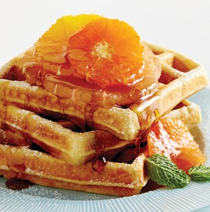 Buttermilk waffles with orange slices