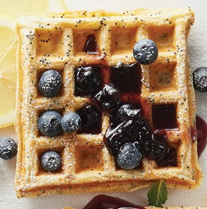 Square lemon poppy seed waffles filled with blueberries