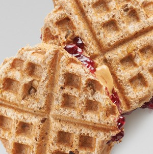 Waffle-crusted PB and J sandwich