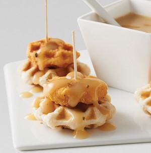 Chicken 'n' waffle sticks drizzled in chicken gravy