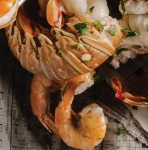 Pile of crawdad and shrimp
