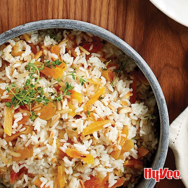 Bowl of almond-apricot rice pilaf