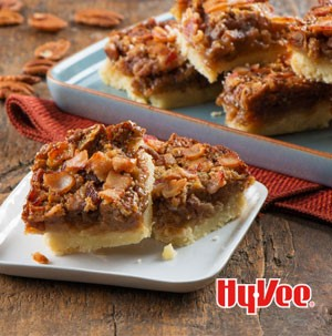 Plate of bacon pecan pie bars