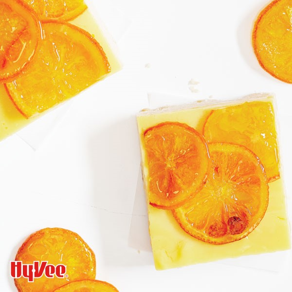 Candied citrus bars cut in squares