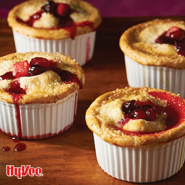 Souflee cups filled with cranberry pot pies