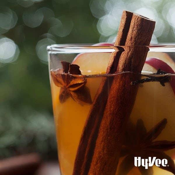 Glass of cinnamon apple twist filled with whole star anise, apple slices and cinnamon stick