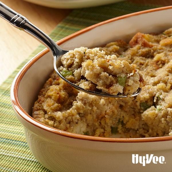 Dish of cornbread stuffing