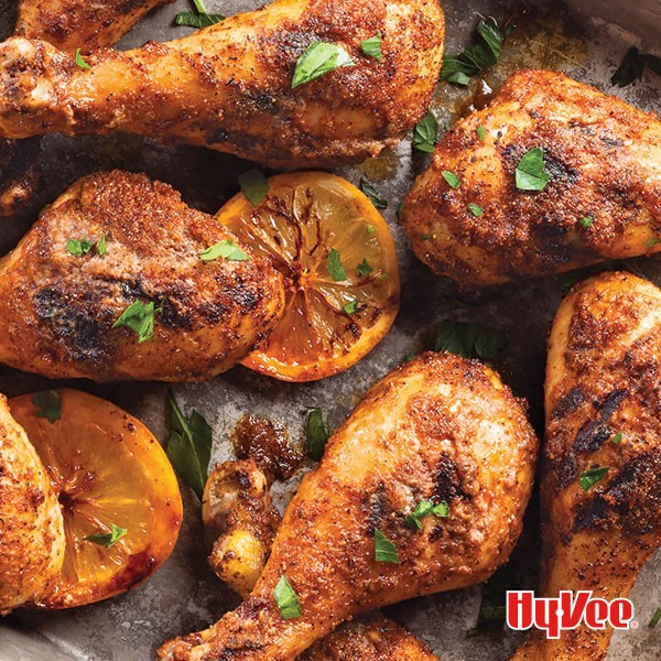 Tray of citrus marinated drumsticks