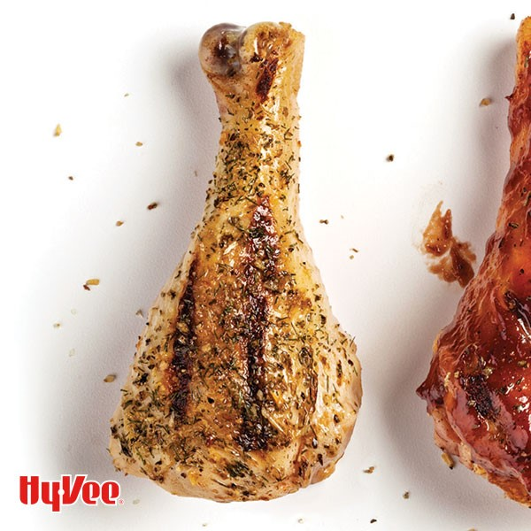 Grilled and seasoned chicken drumstick