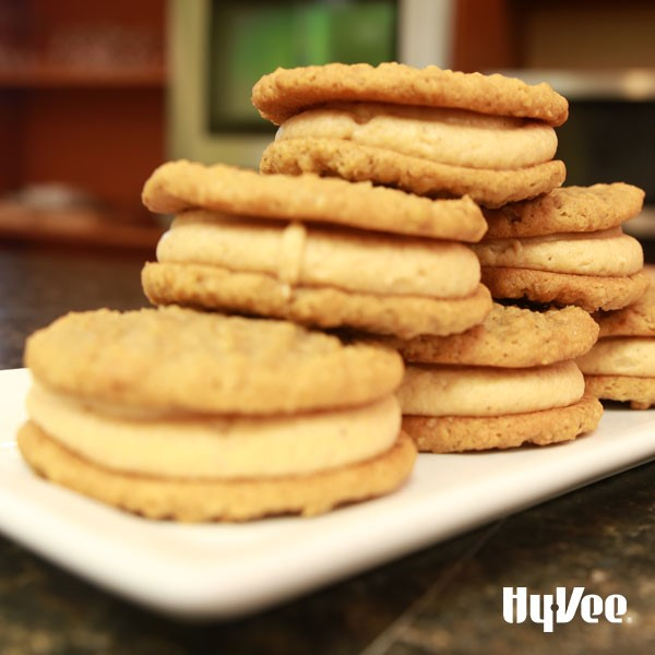 Pumpkin bourbon cream sandwiched between oatmeal cookies