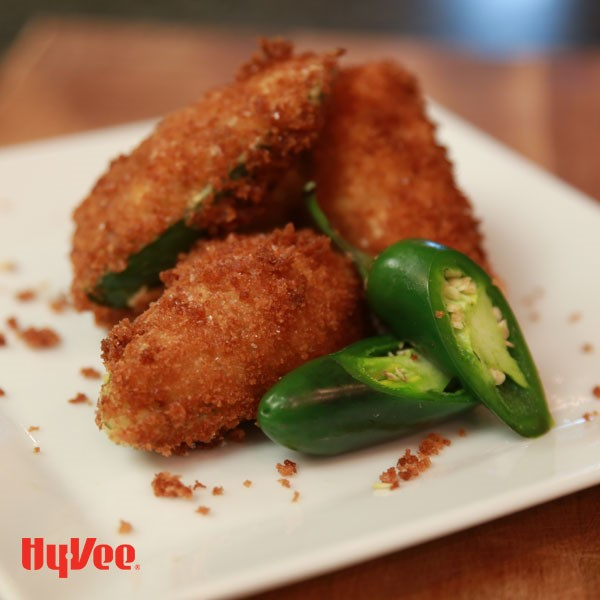 Plate of breaded cheesesteak jalapeno poppers