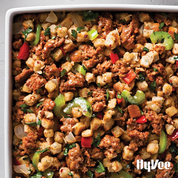 Sausage stuffing mixed with celery, cilantro, red bell pepper and onion