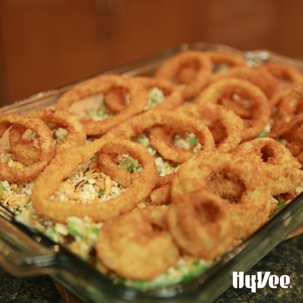 Chef Andrew's ultimate green bean casserole topped with onion rings