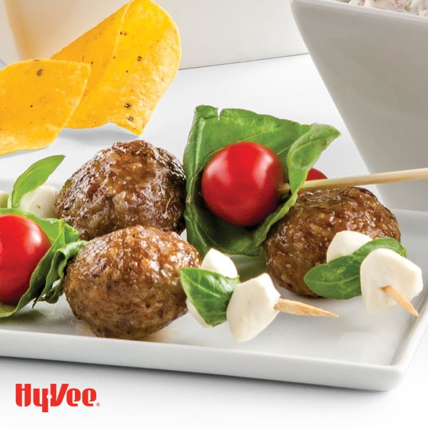 Plate of caprese meatball skewers