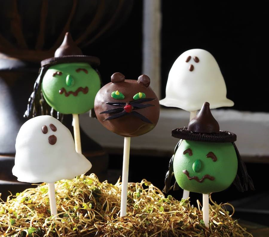 Cat, Ghost and Witch Halloween Cake Pops