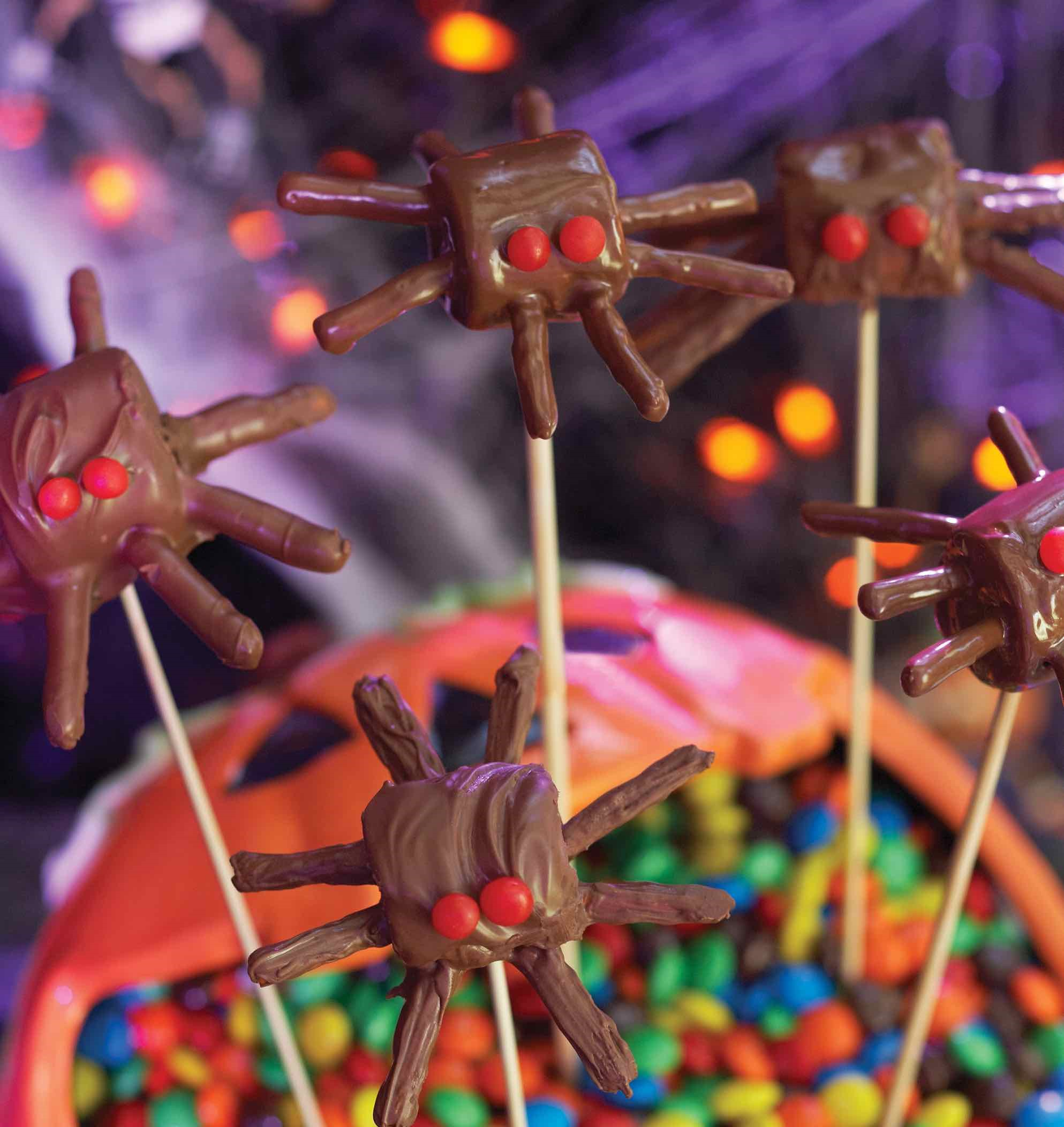 Chocolate Covered Marshmallows and Stick Pretzels Make a Spider