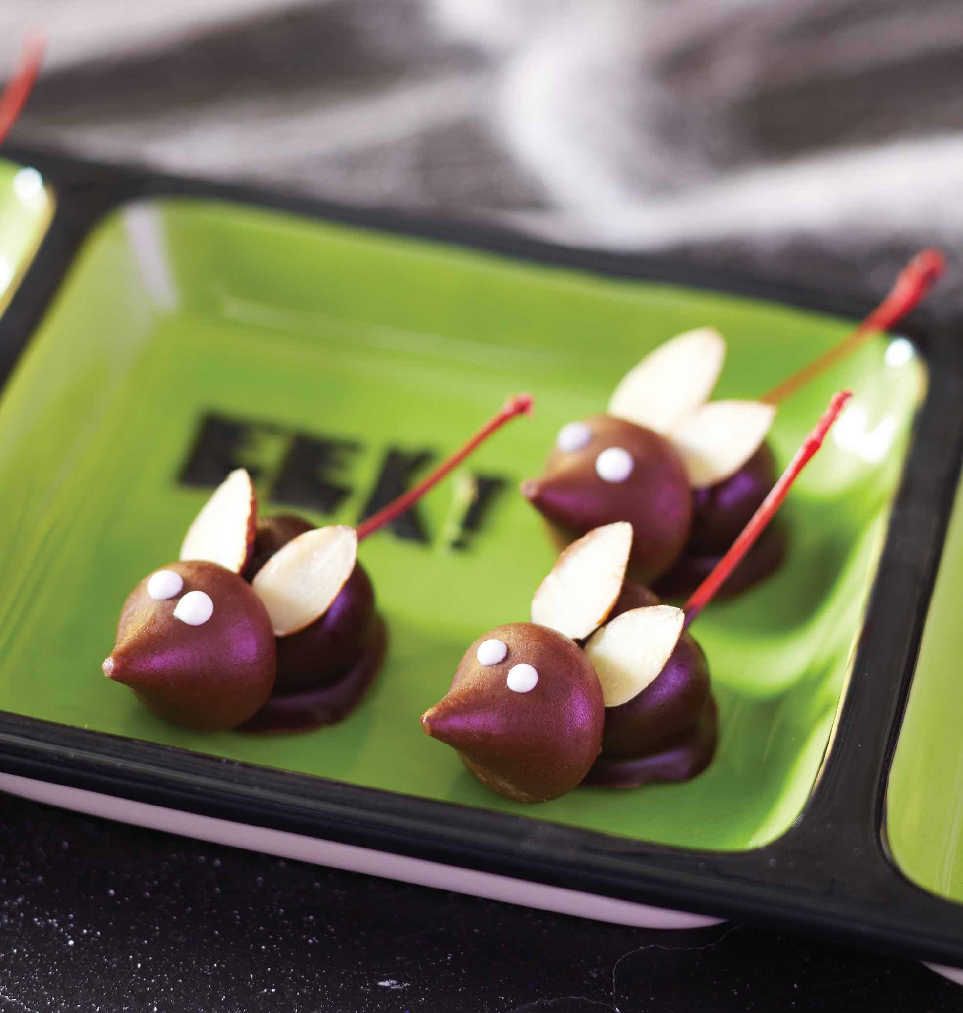 Chocolate Covered Cherries Bodies, Hershey Kiss Faces and Two Almond Slices Make Creepy Mice