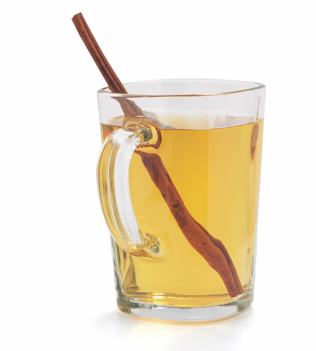 Glass Mug of Cider with a Cinnamon Stick