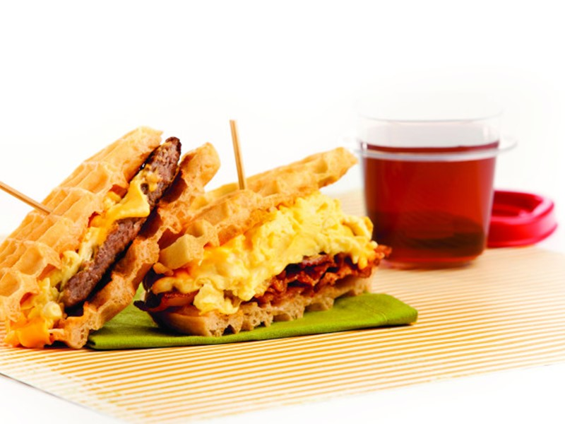 Waffle Sandwiches with Scrambled Eggs and Bacon