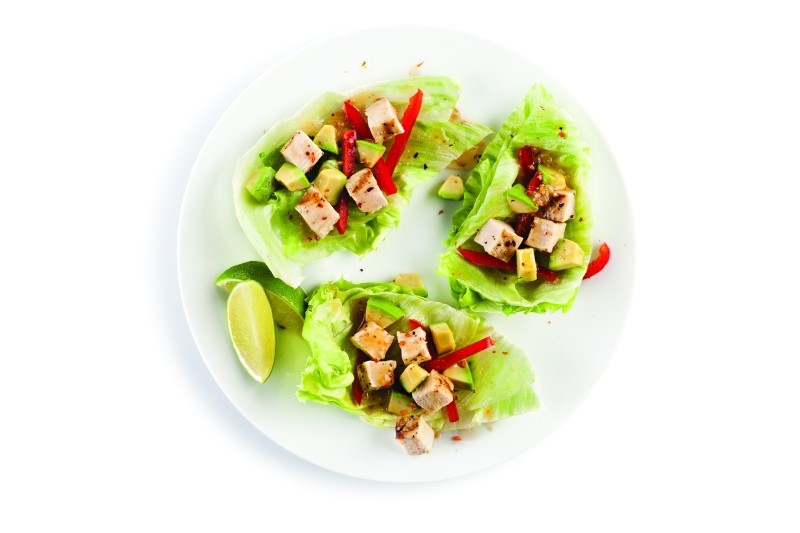 Lettuce Wraps with Ham, Bell Peppers, Avocados, and Limes on the Side