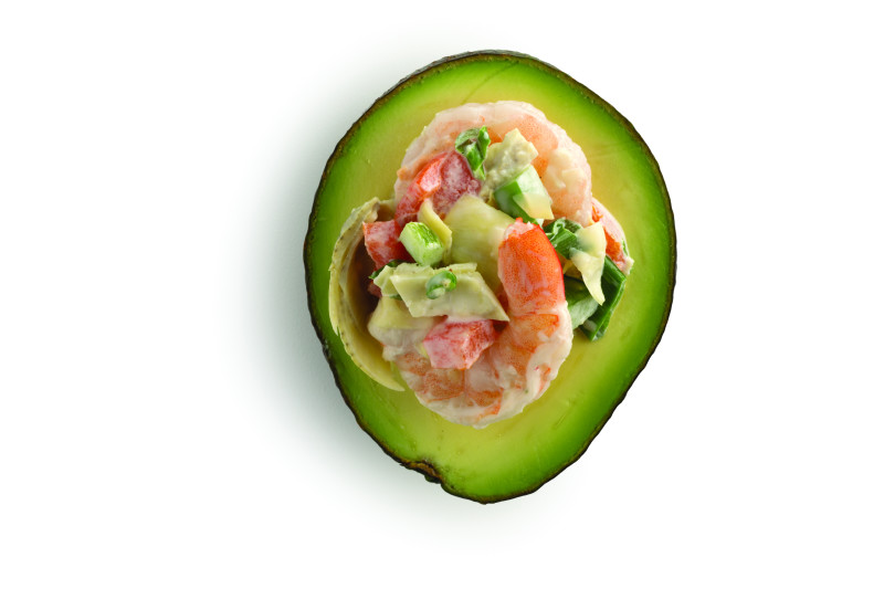 Avocado stuffed with Shrimp, Green Onions, and Tomatoes