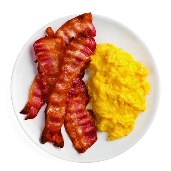 Strips of Bacon and Scrambled Eggs