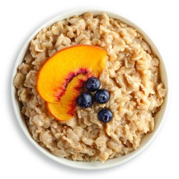 Oatmeal with Sliced Peaches and Blueberries