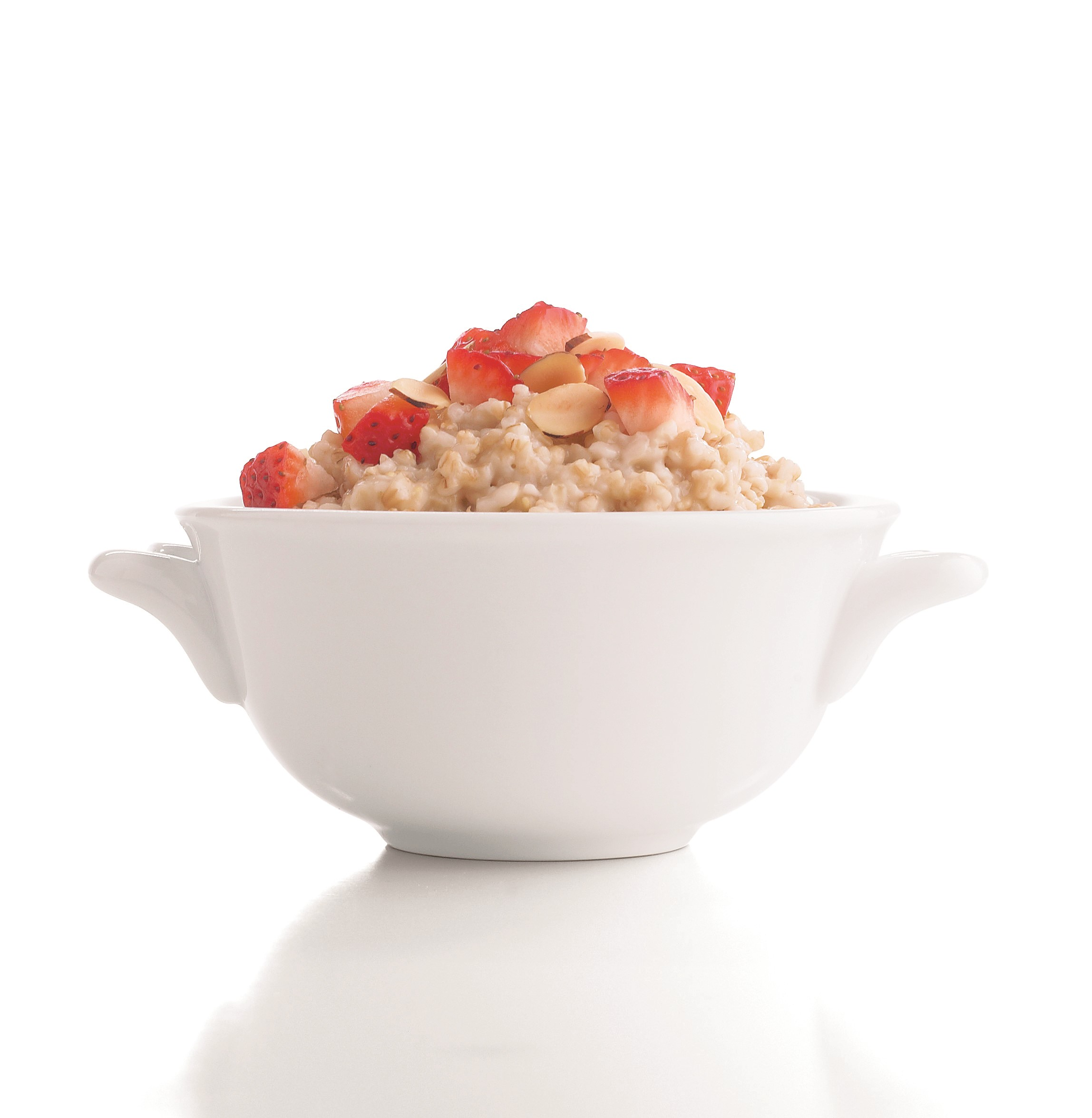 Bowl of Oatmeal with Strawberries and Sliced Almonds