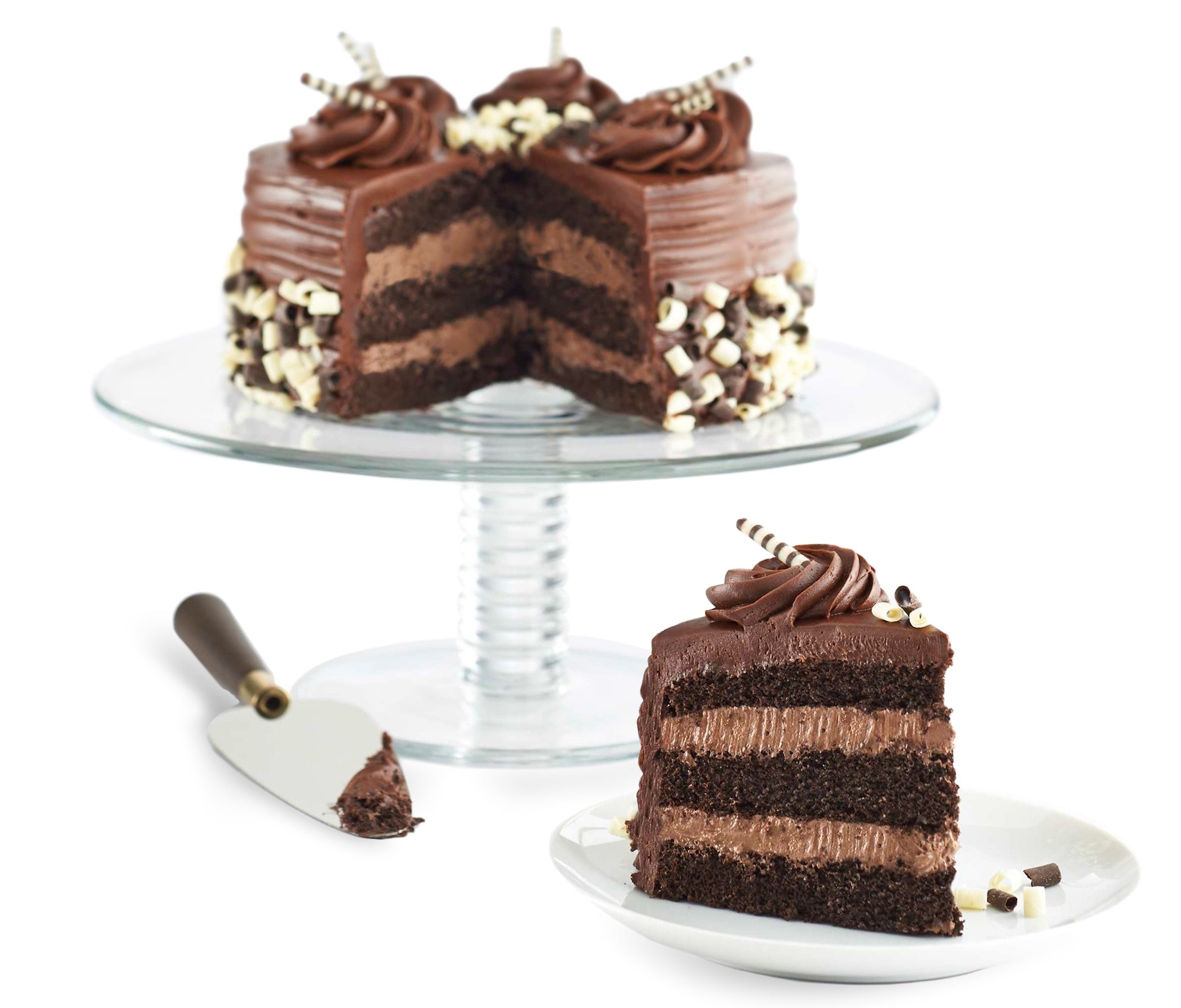 Hy-Vee 3-layer Cake with Piece on Plate