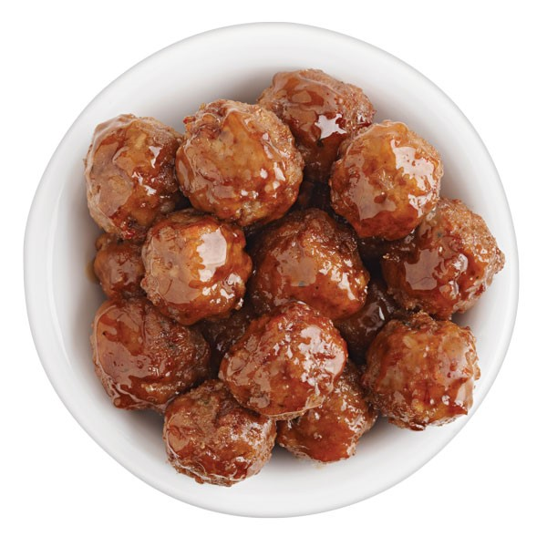 Bowl of mini meatballs with sauce