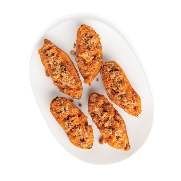 Twice Baked Sweet Potatoes with a Crumble on Top