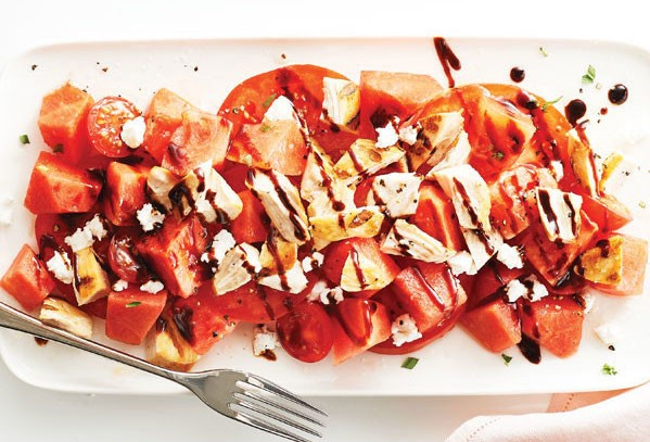 Watermelon Chicken Salad with Tomatoes and Drizzled with Balsamic Vinegar