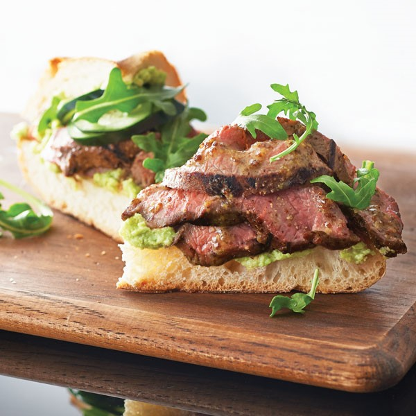 Flank Steak Open Faced Sandwiches with Avocado Spread and Arugula