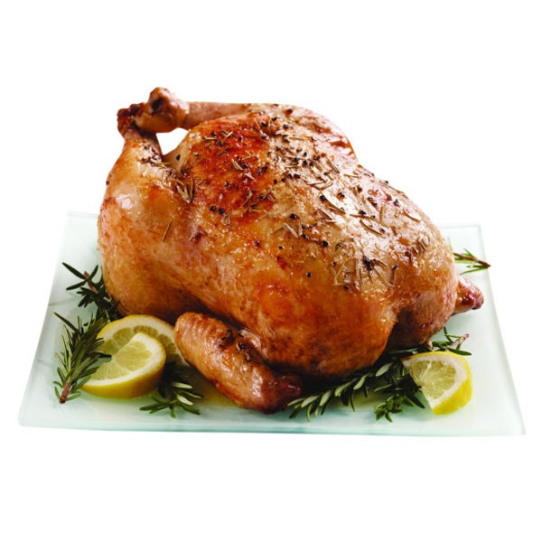 Roasted Chicken with Rosemary and Lemon Wedges
