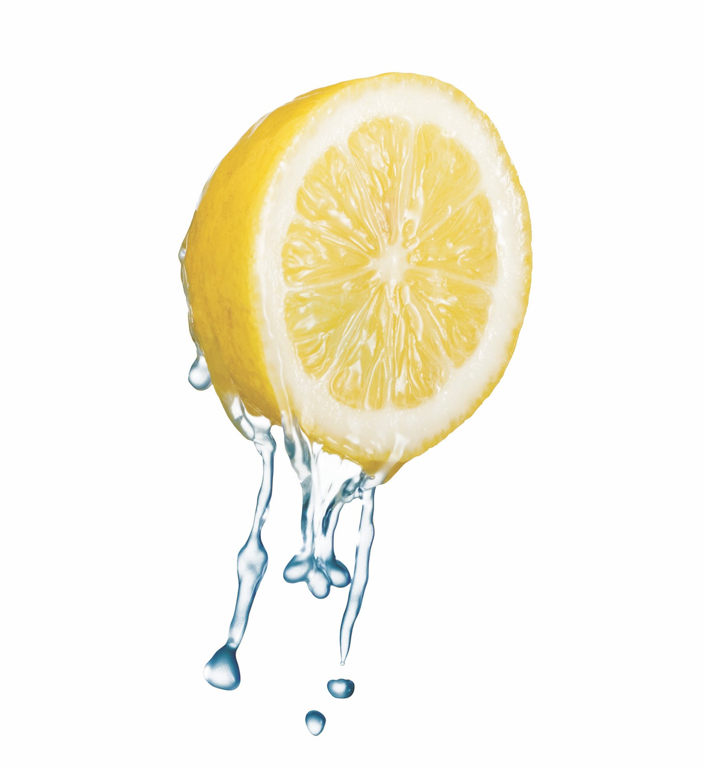 Lemon Slice Dripping with Water