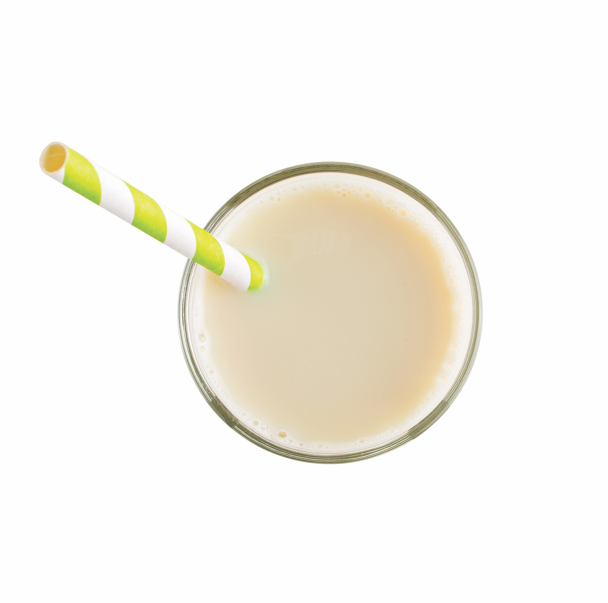 Soy Milk in a Glass with a Green and White Stripped Straw