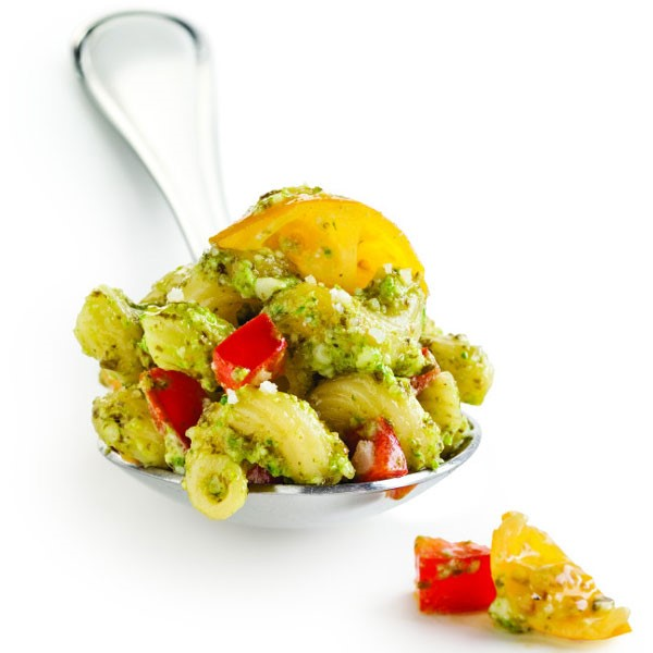 Pesto Covered Noodles with Yellow and Red Tomatoes