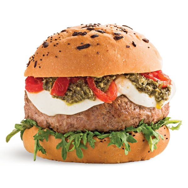 Turkey Burger with Arugula, Tomato and Mozzarella Slices and Pesto